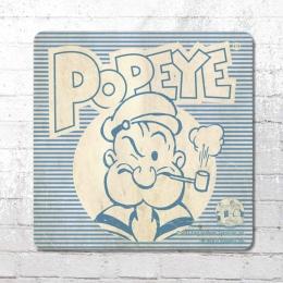 Logoshirt Coaster Popeye Portrait Untersetzer hellblau