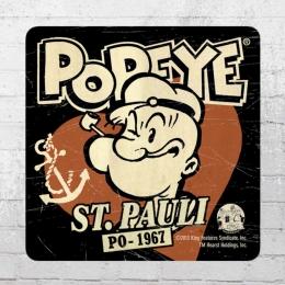 Logoshirt Coaster Popeye St. Pauli Untersetzer schwarz