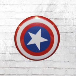 Logoshirt Comic Marvel Captain America Shield Button Anstecker blau
