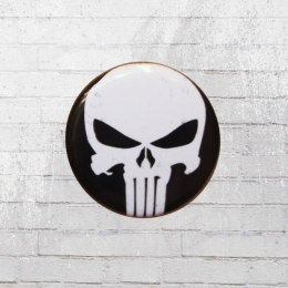 Logoshirt Comic Marvel Punisher Button Anstecker schwarz weiss