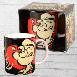 Logoshirt Kaffeebecher Tasse Popeye Sankt Pauli schwarz