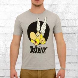 Logoshirt Männer T-Shirt Asterix Portrait hellgrau melange