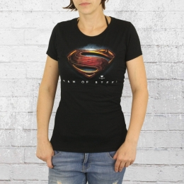 Logoshirt T-Shirt Damen Superman Man Of Steel Logo schwarz