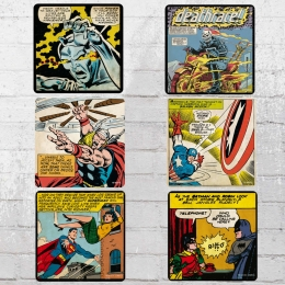 Logoshirt Untersetzer Set Mix Marvel DC Comic Panels Coaster bunt