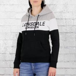 Lonsdale London Damen Kapuzen Sweatshirt Penbryn schwarz grau weiss