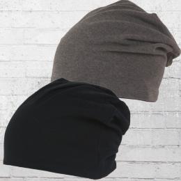 MasterDis Wende Mütze Jersey Beanie Wendemütze schwarz grau