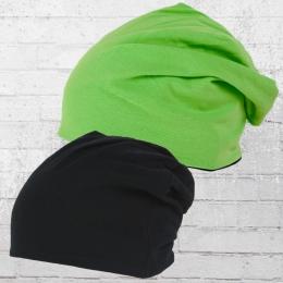 MasterDis Wendemütze Jersey Beanie schwarz grün