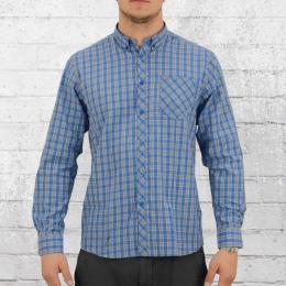 Merc Langarm Herren Button-Down Hemd Gorse blau kariert