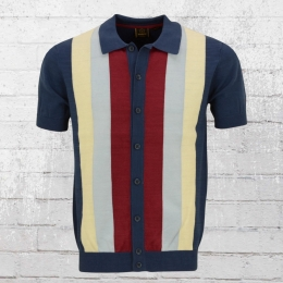 Merc London Herren Strick Polo Jacke Upton Bowling Shirt blau gestreift
