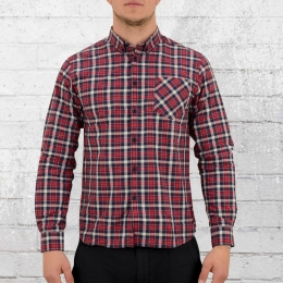 Merc London Langarm Button Down Karo Hemd Walpole rot blau weiss