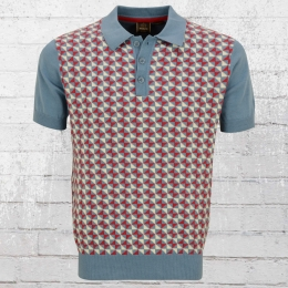 Merc London Männer Strick Polo Shirt Heston blau rot weiss