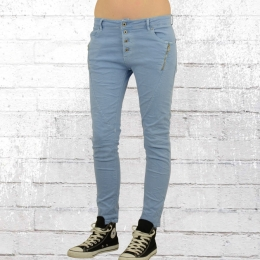 Monday Afternoon Boyfriend Cut Skinny Stretch Jeans Hose hellblau