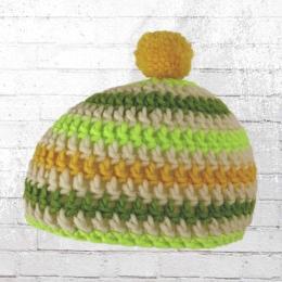 Muttis Strick Bommelmütze gelb weiss grün