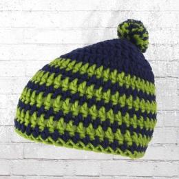 Muttis Strickmütze Bommelmütze blau grün