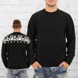 Napapijri Männer Pullover Badstow mit Brusttasche schwarz