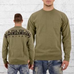 Napapijri Männer Sweater Badstow Pocket oliv grün