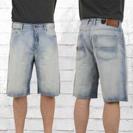 Pelle Pelle Herren Buster Baggy Jeans Short hellblau gewaschen