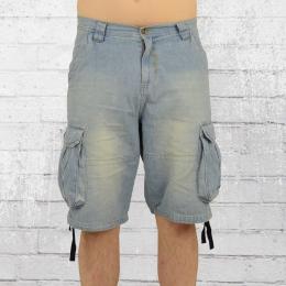 Pelle Pelle Herren Jeans Short Basic Denim Cargo hellblau