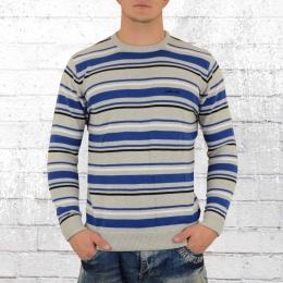 Pelle Pelle Herren Strick Sweatshirt Core Strip grau blau