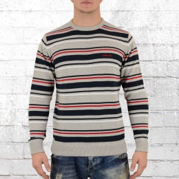 Pelle Pelle Männer Strick Pullover Core Strip grau navy rot