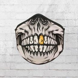 PG Wear Maske Goldzahn Skull schwarz weiss