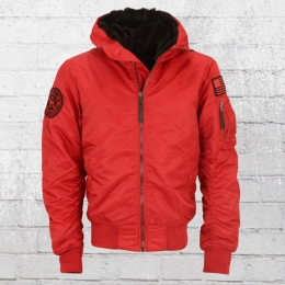 Pit Bull Mens Winter Bomber Jacket Encino red