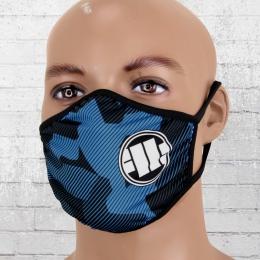 Pit Bull West Coast Maske Logo blau camouflage