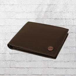 Reell Button Leder Portemonnaie braun