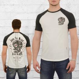Religion Clothing Herren Raglan T-Shirt Born to Ride weiss schwarz