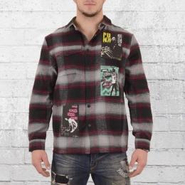 Religion Flanell Hemd Punk Shirt grau schwarz rot kariert