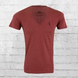 Religion Herren T-Shirt Plain V Neck PLV 06 X cardinal rot
