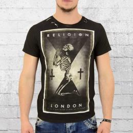 Religion Herren T-Shirt Praying Skeleton schwarz