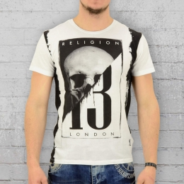 Religion Herren T-Shirt Skull 13 weiss schwarz M