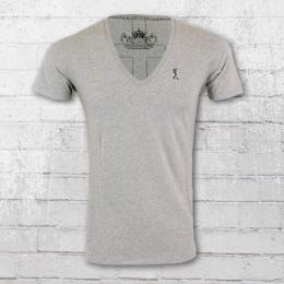 Religion Männer T-Shirt Plain V Neck PLV 06 X grau meliert