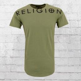 Religion T-Shirt Männer oliv grün