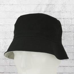 Reversible Bucket Angler Hut Wende-Mütze schwarz grau