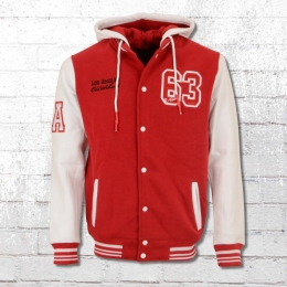 Rusty Neal Herren College Sweat Jacke rot weiss