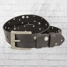 Rusty Neal Leder Gürtel mit Schrauben und Nieten schwarz