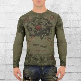 Rusty Neal Herren Longsleeve T-Shirt mit Totenkopf oliv grün