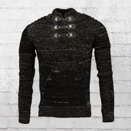 Rusty Neal Herren Strick Sweater 3 Schnallen schwarz