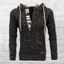 Rusty Neal Herren Strick Sweater mit Kapuze schwarz creme weiss