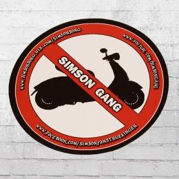 Simson Gang Aufkleber No Roller rot weiss