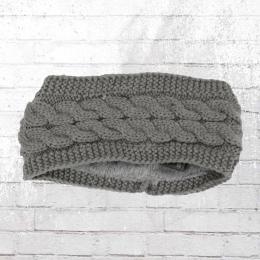 Strick Stirnband Mit Zopfmuster und warmer Fellfütterung grau