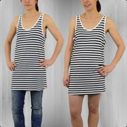 All About Eve Tank Top Mini Kleid Stripe Alley schwarz weiss