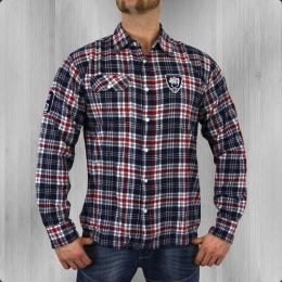 Wrung Herren Karo Hemd Langarm The W Woven Shirt red