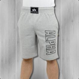 Alpha Industries Track Short kurze Jogginghose grau melange