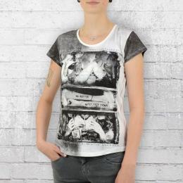 Trueprodigy Damen T-Shirt No Matter weiss grau
