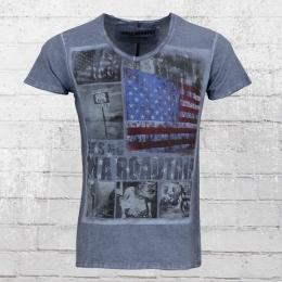 Trueprodigy Herren T-Shirt Lets Go Roadtrip vintage blau
