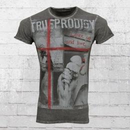 Trueprodigy Herren T-Shirt Wake Up and Live grau