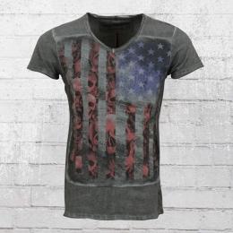 Trueprodigy Herren V-Neck T-Shirt USA Skull Flag anthrazit